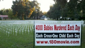 A cross is displayed for a baby who dies each day from abortion.