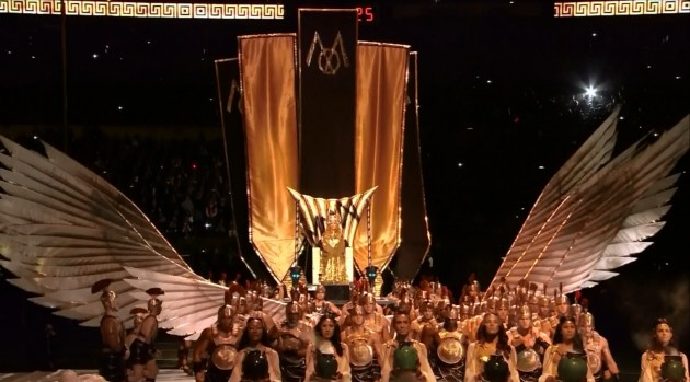 Madonna-Super-Bowl-Entrance-wings Ye Shall Be as Gods : Madonna s Super Bowl Occult Satanic Ritual