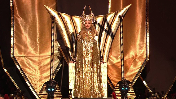 Madonna-Super-Bowl-on-Throne Ye Shall Be as Gods : Madonna s Super Bowl Occult Satanic Ritual