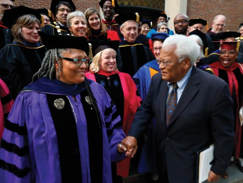 Dr. Emilie Townes, left, at her official convocation as Dean of Vanderbilt University Divinity School.